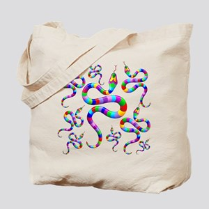 Snake Psychedelic Rainbow Colors Tote Bag