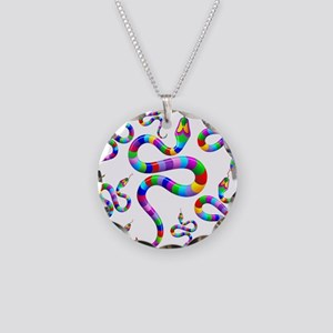 Snake Psychedelic Rainbow Colors Necklace Circle C