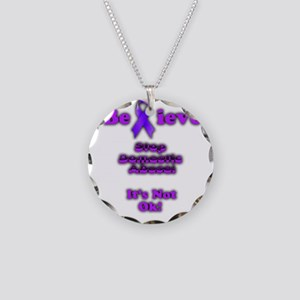 Domestic Abuse Awareness Necklace Circle Charm