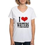 I Love Writers Women's V-Neck T-Shirt