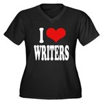 I Love Writers Women's Plus Size V-Neck Dark T-Shi