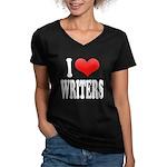 I Love Writers Women's V-Neck Dark T-Shirt