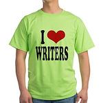 I Love Writers Green T-Shirt