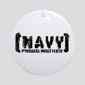 Proud NAVY Mthr - Tattered Style Ornament (Round)