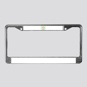 Pink Green Sea Turtle Beach License Plate Frame