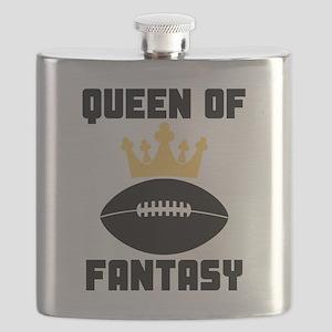Queen Of Fantasy Football Flask