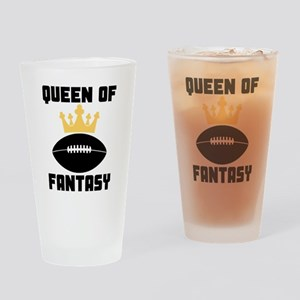 Queen Of Fantasy Football Drinking Glass