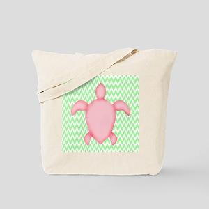 Pink Green Sea Turtle Beach Tote Bag