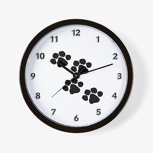 Pet Paw Prints Wall Clock