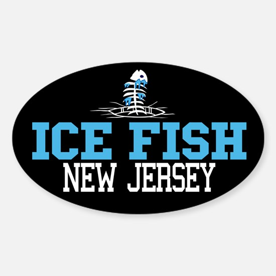 Ice Fish New Jersey Oval Decal