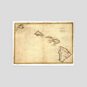 Vintage Map of Hawaii (1837) 5'x7'Area Rug