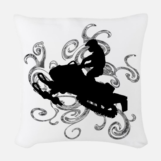 SNOWMOBILE Woven Throw Pillow