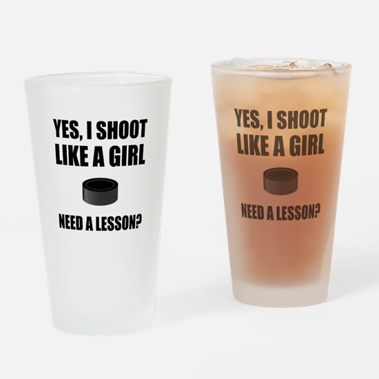 Like A Girl Hockey Drinking Glass