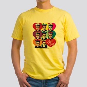 I Love Lucy: Headshot Hearts Yellow T-Shirt