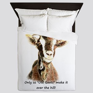Over the Hill Old Goat Humor Quote Queen Duvet
