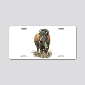 Watercolor Buffalo Bison An Aluminum License Plate