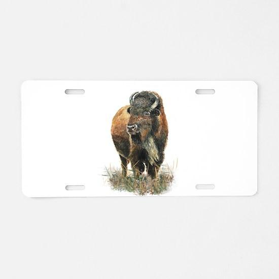 Watercolor Buffalo Bison An Aluminum License Plate