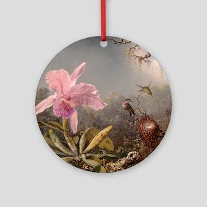 Cattleya Orchis and Three Hummingbirds Round Ornam