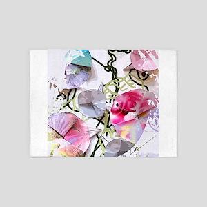 Origami Morning Glories 5'x7'Area Rug