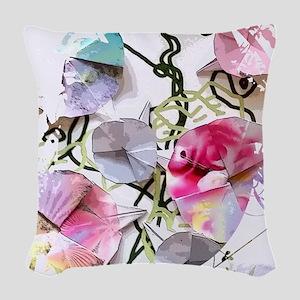 Origami Morning Glories Woven Throw Pillow