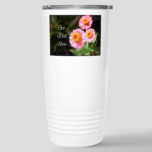 Get Well Soon Pink Flow Stainless Steel Travel Mug