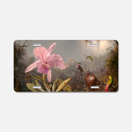 Cattleya Orchid And Three Aluminum License Plate