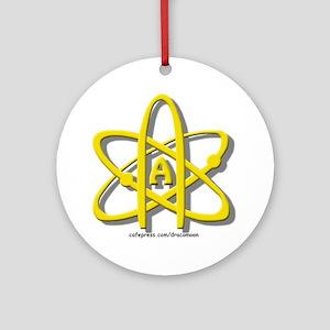 Golden A-Theist Symbol Ornament (Round)