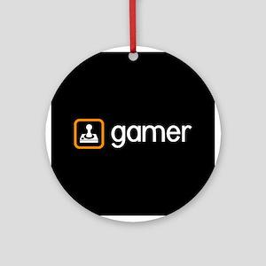 Gamer (Orange) Round Ornament
