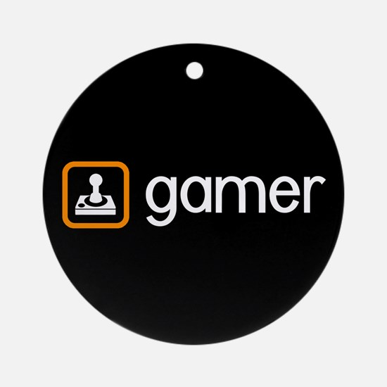 Gamer (Orange) Round Ornament