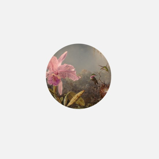 Cattleya Orchid And Three Hummingbirds Mini Button