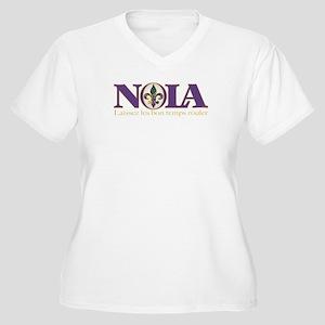 NOLA Mardi Gras Women's Plus Size V-Neck T-Shirt