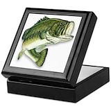 Bass fishing Square Keepsake Boxes