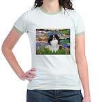 Lilies (#2)/Japanese Chin Jr. Ringer T-Shirt