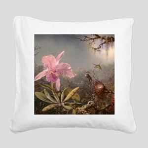 Cattleya Orchid And Three Square Canvas Pillow
