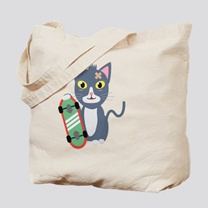 Cat with skateboard Tote Bag