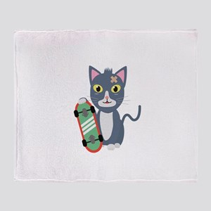 Cat with skateboard Throw Blanket