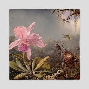 Cattleya Orchid And Three Hummingbirds Queen Duvet