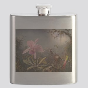 Cattleya Orchid And Three Hummingbirds Flask
