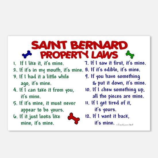 Saint Bernard Property Laws 2 Postcards (Package o