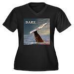 WILD SIDE/DARE WHALE Women's Plus Size V-Neck Dark