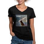 WILD SIDE/DARE WHALE Women's V-Neck Dark T-Shirt