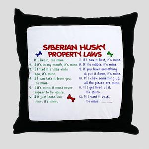 Siberian Husky Property Laws 2 Throw Pillow