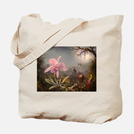 Cattleya Orchis and Three Hummingbirds Tote Bag