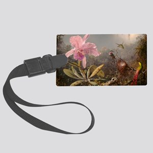 Cattleya Orchis and Three Hummingbirds Luggage Tag