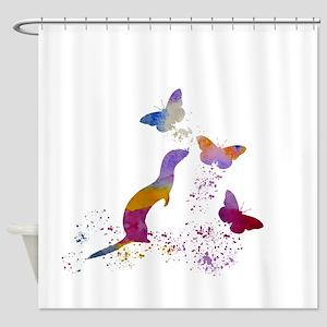 Ferret and buttterflies Shower Curtain