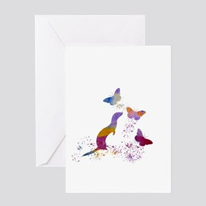 Ferret and buttterflies Greeting Cards