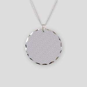 Gray Greek Key Necklace Circle Charm