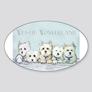 Westie Wonderland Oval Sticker
