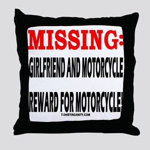 MISSING GIRLFRIEND AND MOTORC Throw Pillow