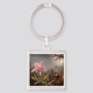 Cattleya Orchis and Three Hummingbirds Keychains